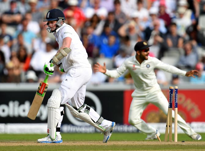 England batsman Sam Robson reacts after his dismissal