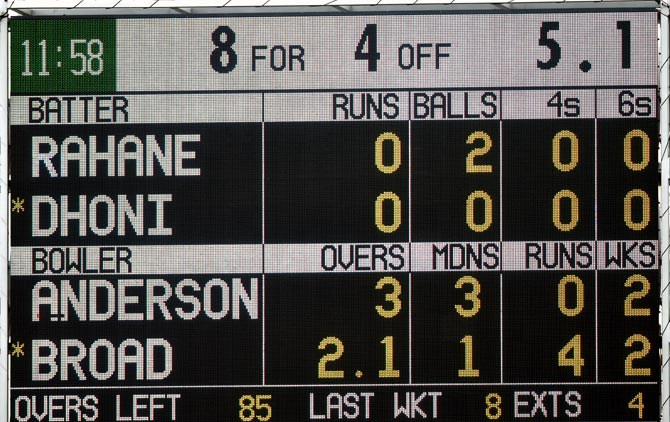 The Indian scoreboard on Day 1 of the fourth Test at Old Trafford.