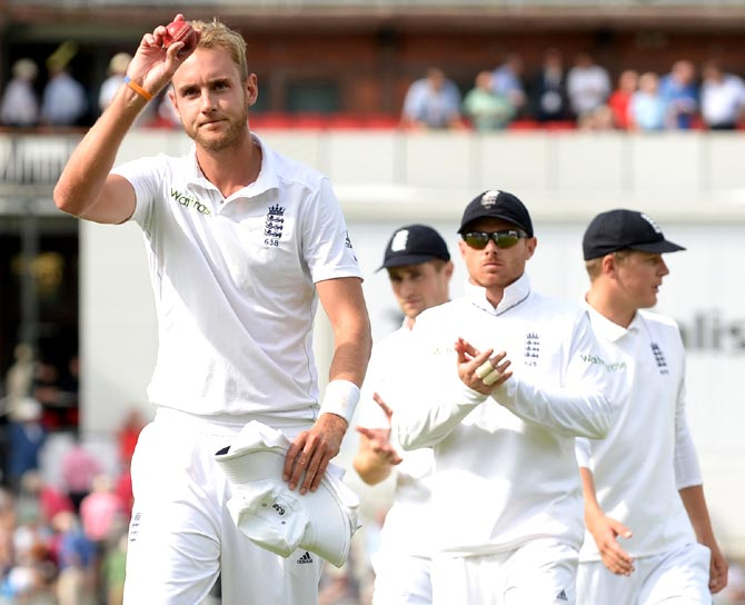 Stuart Broad of England salutes the crowd after taking six wickets