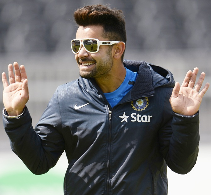 India's Virat Kohli gestures during a training session before the fourth cricket Test match against England at the Old Trafford