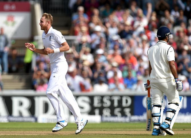 Stuart Broad celebrates after dismissing India batsman Mahendra Singh Dhoni