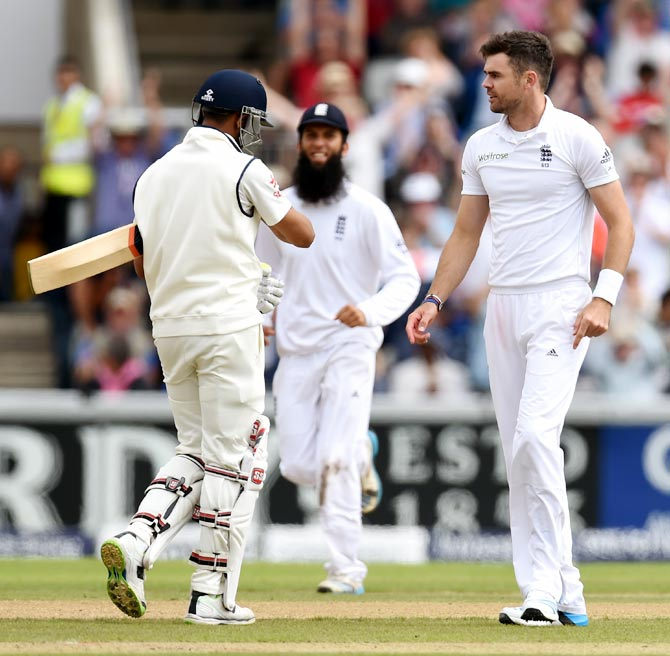 James Anderson (right) celebrates after after dismissing India batsman Ravindra Jadeja