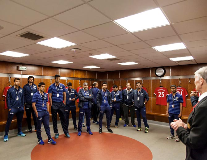 The Indian cricket team captain MS Dhoni and his teammates take a tour of Old Trafford ahead of the fourth cricket Test between England and India
