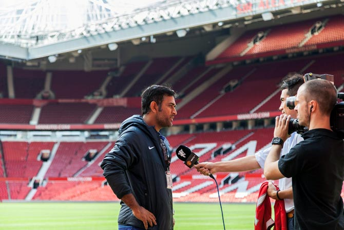 India captain MS Dhoni speaks to the media at the Old Trafford football ground