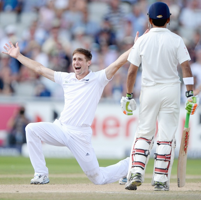 Chris Woakes successfully appeals for the wicket of Murali Vijay