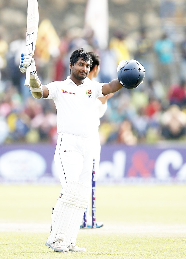 Sri Lanka's Kumar Sangakkara celebrates his double century