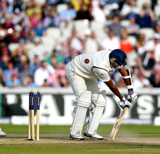 India batsman Pankaj Singh is bowled by Chris Jordan