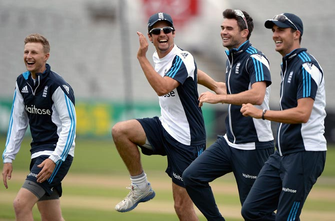 England's players during a nets session at Old Trafford
