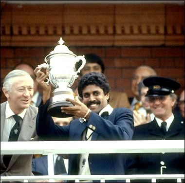 Indian captain Kapil Dev lifts the 1983 World Cup trophy.