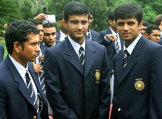 Sachin Tendulkar, Sourav Ganguly and Rahul Dravid.