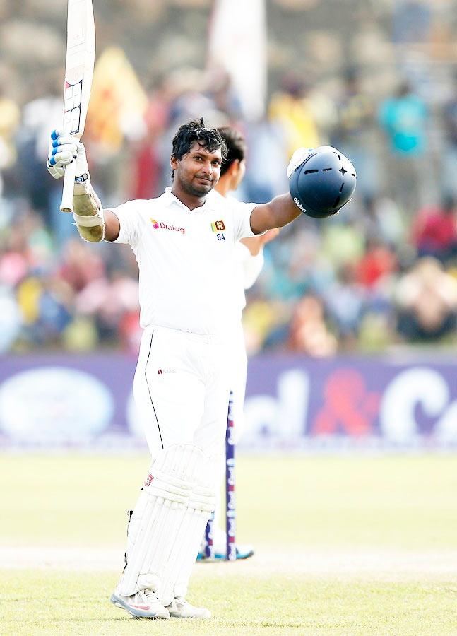 Sri Lanka's Kumar Sangakkara celebrates his double century