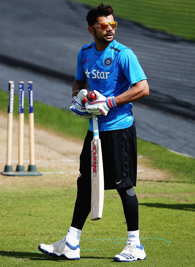 Virat Kohli during a nets session