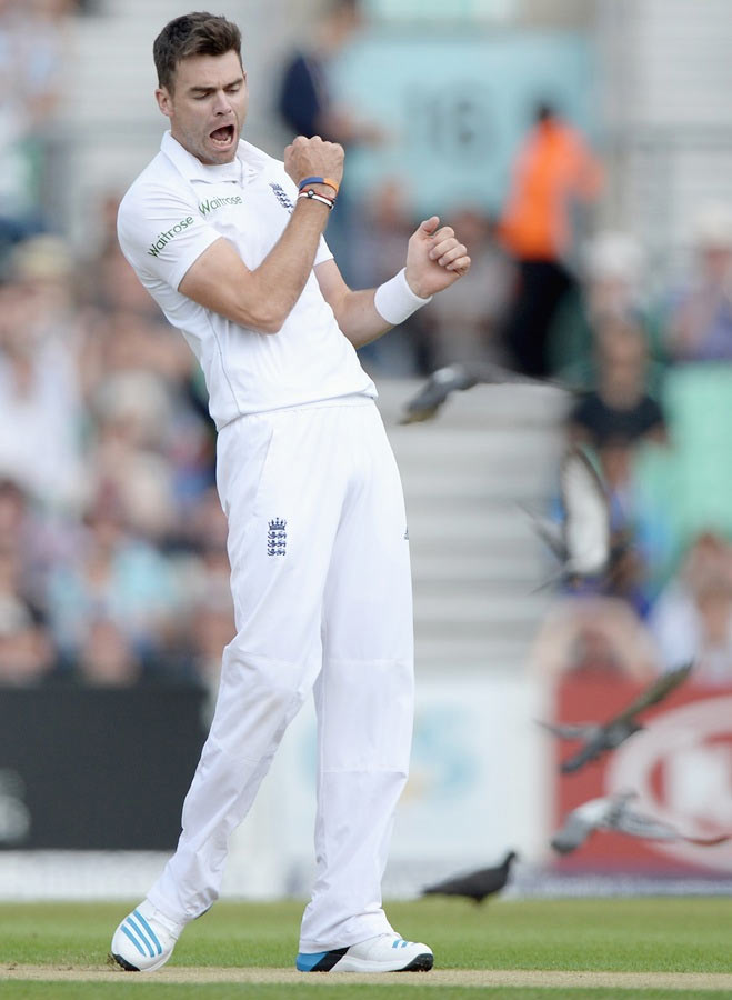 James Anderson of England celebrates dismissing Gautam Gambhir