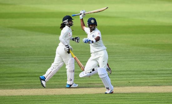 Shikha Pandey of India celebrates as she and Mithali Raj lead India to victory   during Day Four of the Womens Test match between England and India at Wormsley Cricket Ground