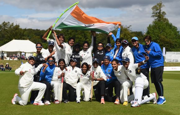 The India team celebrate their victory during Day Four of the Womens Test match between England and India at Wormsley Cricket Ground