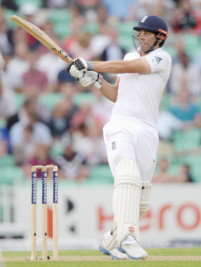 England captain Alastair Cook bats