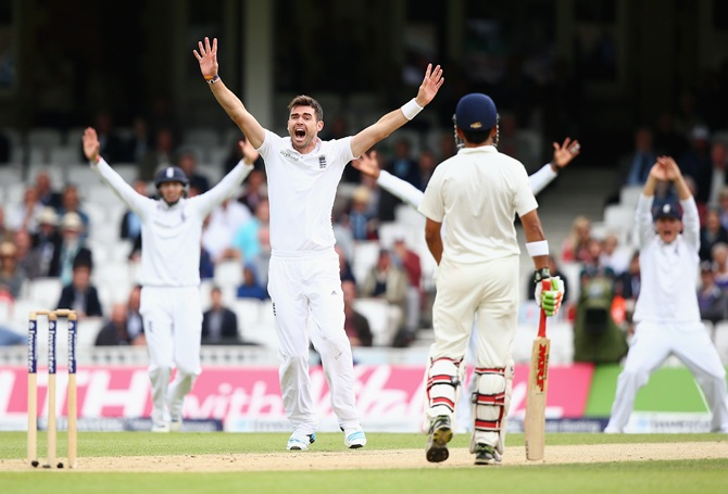 James Anderson of England celebrates