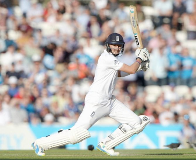 England's Joe Root bats during Day 2 of the fifth Test against India