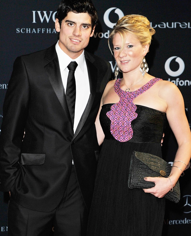 Alastair Cook and with his wife Alice