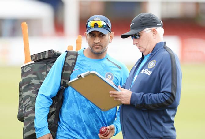 India captain Mahendra Singh Dhoni and head coach Duncan Fletcher during a nets session in England.