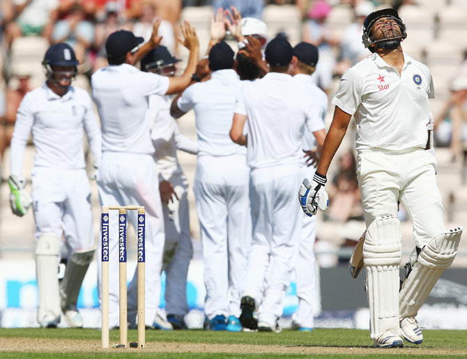Rohit Sharma (right) of India shows his frustration after being caught by Stuart Broad off the bowling of Moeen Ali