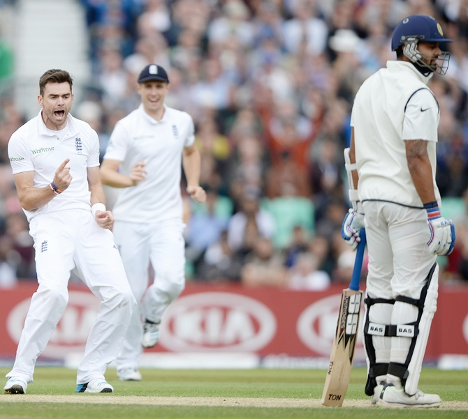 James Anderson of England successfully appeals for the wicket of Murali Vijay of India