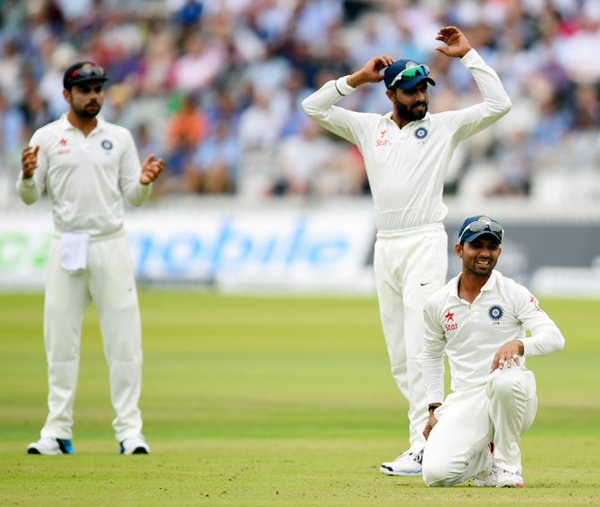 (Left to right): Virat Kohli, Ravindra Jadeja and Ajinkya Rahane