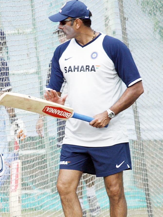 Ravi Shastri gives batting tips