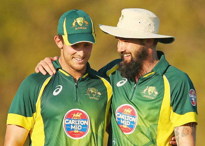 Mitchell Marsh and Kane Richardson of Australia