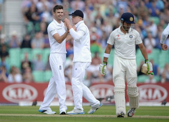 Gautam Gambhir walks back after being dismissed by James Anderson