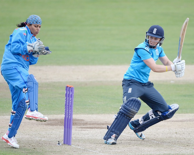 Heather Knight of England bats during the 1st Royal London ODI between England and India at North Marine Road