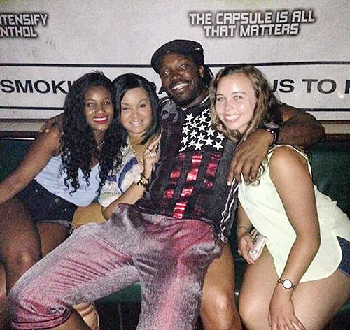 Chris Gayle and 'friends' at a party