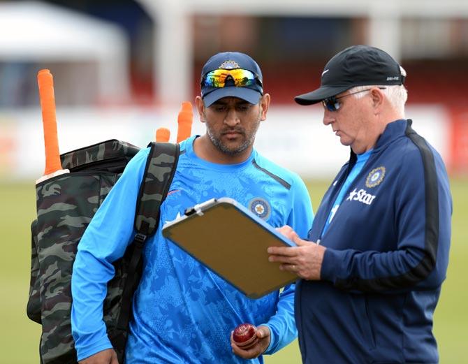 Indian captain MS Dhoni and coach Duncan Fletcher