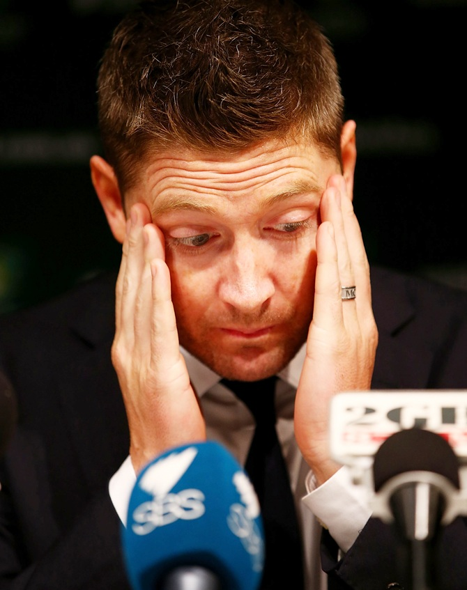 Australian captain Michael Clarke appears to be tired as he speaks to the media