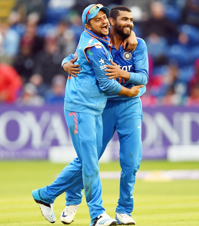 India's Ravindra Jadeja, right, and Suresh Raina