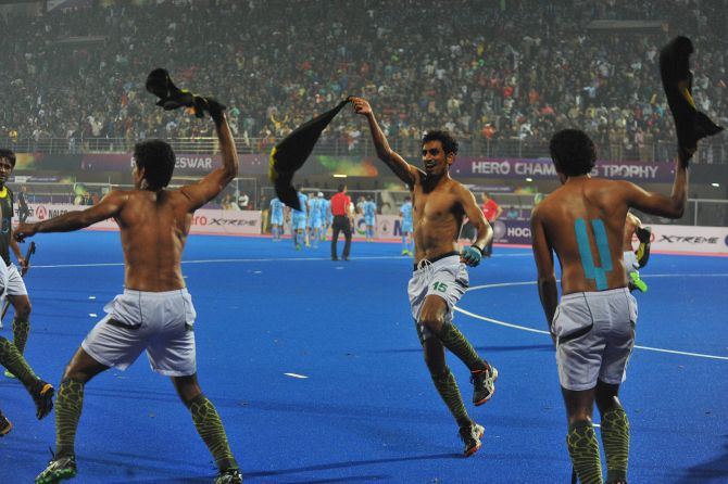 Rediff Cricket - Indian cricket - 'Hockey players celebration can affect India-Pak cricket ties'