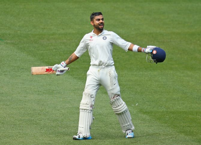 Rediff Cricket - Indian cricket - Kohli's 12th Test ton gives India Day 1 honours vs Windies