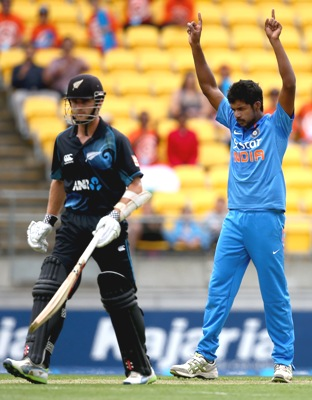 Varun Aaron in the New Zealand series.