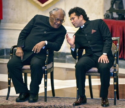 India cricketer Sachin Tendulkar (right) and scientist CNR Rao chat during the investiture ceremony on Tuesday