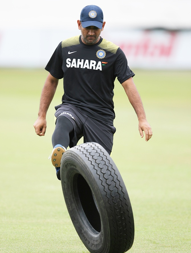MS Dhoni during the trai