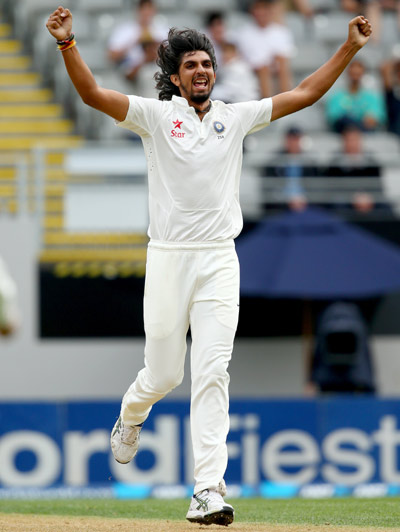 Ishant Sharma celebrates after bagging a wicket