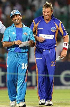 Tendulkar and Warne during the IPL