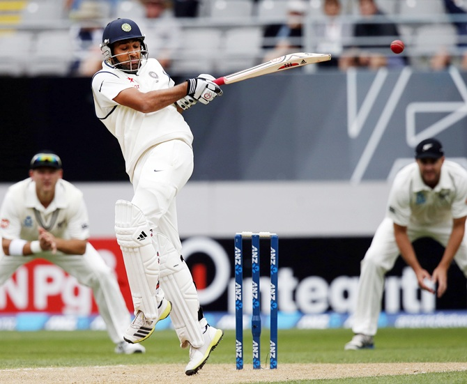 India's Rohit Sharma hits a ball for four on day two of the first Test against New Zealand