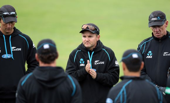 New Zealand coach Mike Hesson with his players