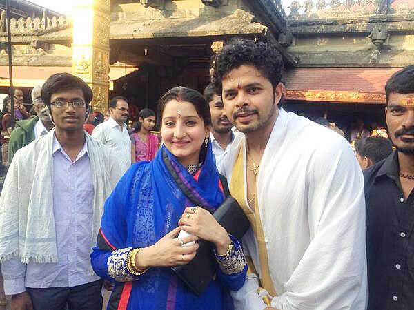 S Sreesanth and wife Bhuwneswari Kumari outside the  Mookambika temple