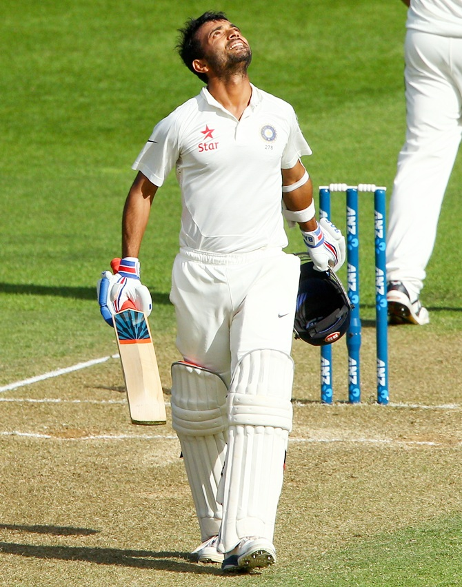 Ajinkya Rahane of India celebrates his century during day two of the 2nd Test match between New Zealand and India.