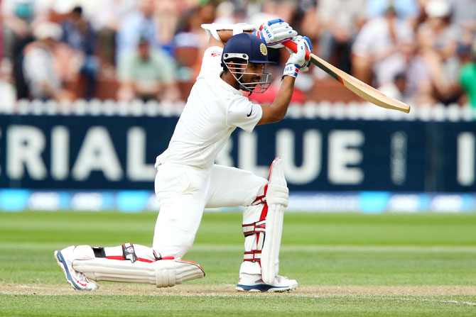 Ajinkya Rahane of India bats.