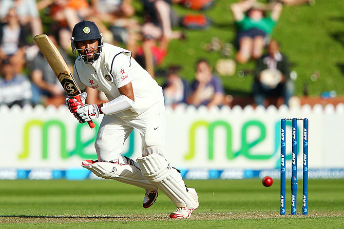 Cheteshwar Pujara bats in the second Test
