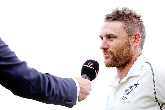 Brendon McCullum of New Zealand is interviewed after finishing the day on 281 runs on in the 2nd Test between New Zealand and India in Wellington on Monday