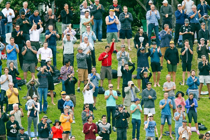 Fans give a standing ovation to Brendon McCullum of New Zealand after reaching 300 runs.